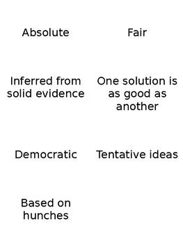 Intro to Science vs. Non-Science Card Sort