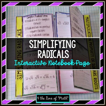 Simplifying Radicals (Square Roots) Interactive Notebook Page