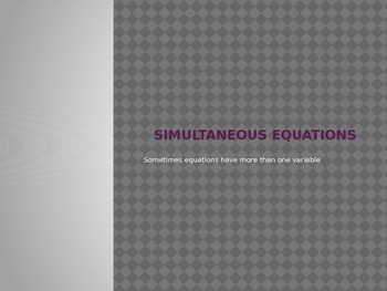 Intro to Simultaneous Equations