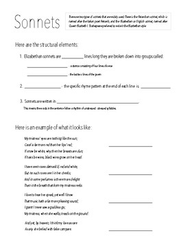 Intro to Sonnets Graphic Organizer
