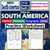 Intro to South America   PEGS Factors Practice Worksheet Activity