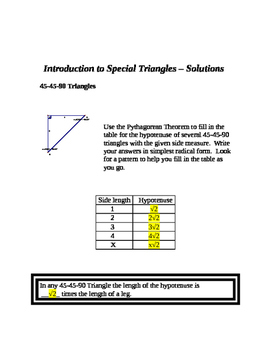 Intro to Special Triangles (45-45-90 and 30-60-90)