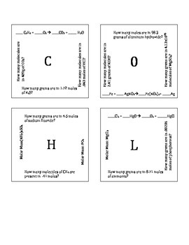 Intro to Stoichiometry Puzzle Version C