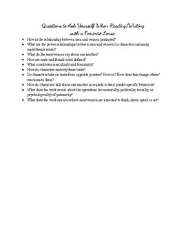 Intro to Teaching Feminist Lense - Example Writing & Questions