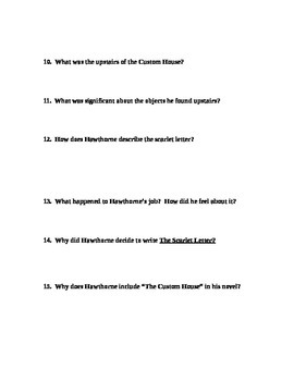 Intro to The Scarlet Letter - Custom House questions