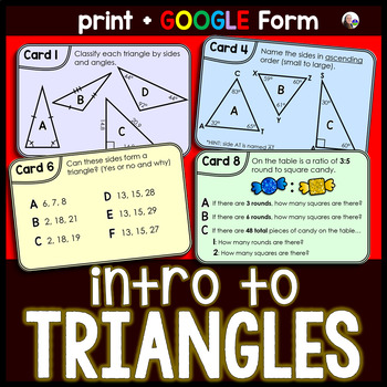 Introduction to Triangles Task Cards