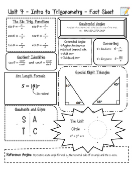 Intro to Trig Fact Sheet