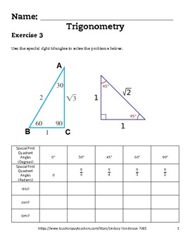 Intro to Trig Lesson 3 of 6 First Quadrant Special Angles