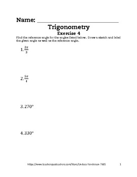 Intro to Trig Lesson 4 of 6 Reference Angles