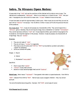 Intro to Viruses Open Notes, Worksheet, KEYS