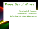 Intro to Waves, interference, diffraction refraction wavelength and frequency
