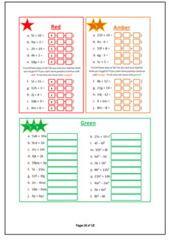 Intro to algebra, Collect and simplify terms, expanding brackets and factorizing