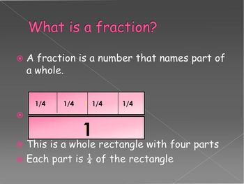 Intro to basic fractions 1/2, 1/3/, and 1/4