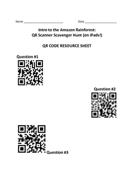 Intro to the Amazon Rainforest:  QR Scanner Scavenger Hunt (on iPads!)