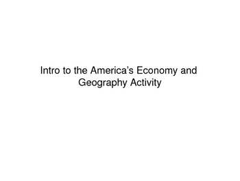Intro to the America's Geography and Economy