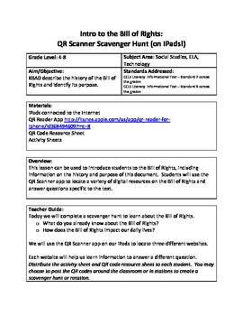 Intro to the Bill of Rights:  QR Scanner Scavenger Hunt (on iPads!)