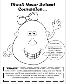 Intro to the Counselor Mrs./Mr. Potato Head Lesson (K-1)