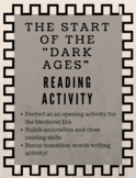 Intro to the Dark Ages Reading Activity