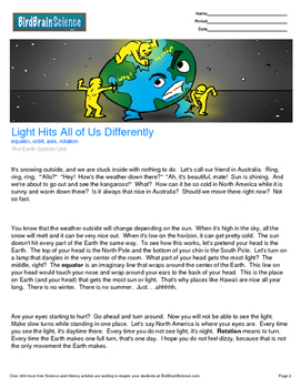 Intro to the Earth System, Light His Us All Differently - Engaging Science Read
