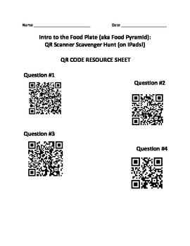 Intro to the Food Plate (aka Food Pyramid): QR Scavenger Hunt (on iPads!)