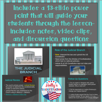 Intro to the Judicial Branch- Role, Judicial Review, and Judicial Philosophies