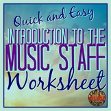 Intro to the Music Staff - Printable PDF Worksheet ELEM Music - Use for Sub!