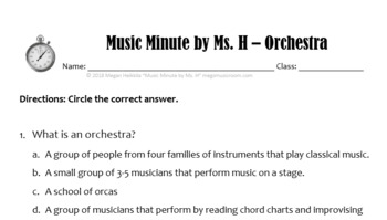 Intro to the Orchestra - Printable PDF Worksheet Elementary Music - Use for  Sub!