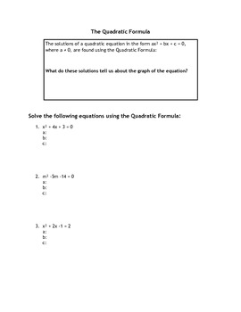 Intro to the Quadratic Formula Worksheet