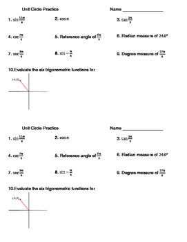 Intro to the Unit Circle Practice