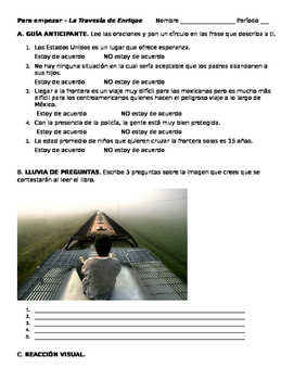 "FREE Intro worksheet for ""La Travesía de Enrique"" - Spanish for Spanish speakers"