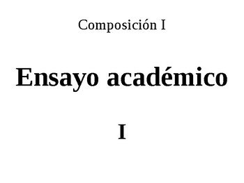 Introducción a la escritura de ensayos académicos