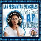 No-Prep AP Spanish Preguntas Esenciales Vocabulario y Comprensión con Dictado