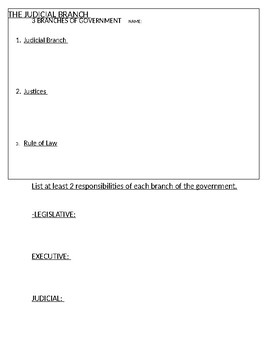 Introduce Three Branches of Government
