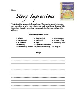 Introduce Vocabulary - Story Impressions: The Mysterious Tadpole