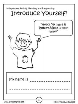 Introduce Yourself For Kids Worksheets & Teaching Resources | TpT