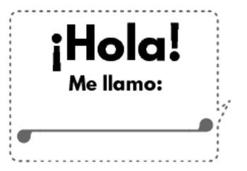 Introduce Yourself Spanish Class Name Badge Black and White