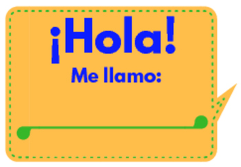 Introduce Yourself Spanish Class Name Badge in Color