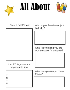 Introduce Yourself Worksheet by Adventures in the Art Room | TpT