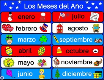Months of the Year in Spanish - First Grade