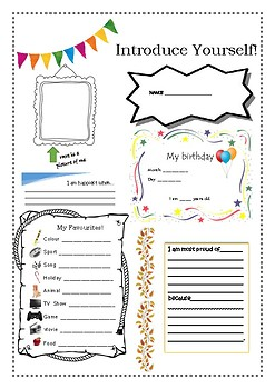 Introduce Yourself Worksheet | Teachers Pay Teachers