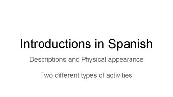 Introducing and describing people in Spanish | Short Listening Activity