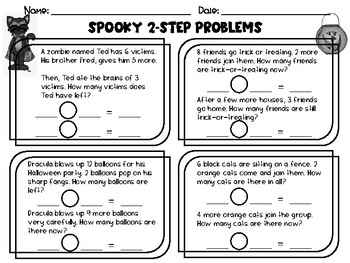 Introducing 2-Step Word Problems - Halloween Themed