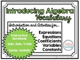 Introducing Algebra Vocabulary Activities