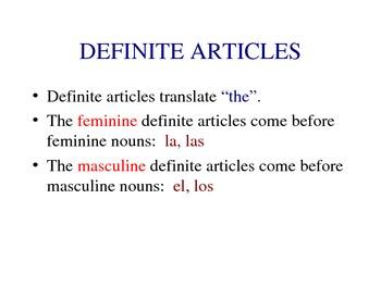 Introducing Definite and Indefinite Articles