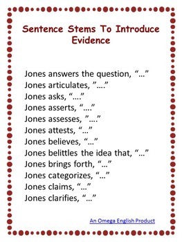 Introducing Evidence: Verbs of Attribution Sentence Stems Printable