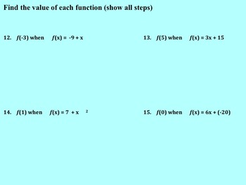 Introducing Functions Review on Smart board