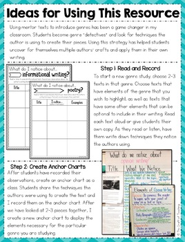 Introducing Genre With Mentor Texts