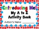 Introducing Me! An A to Z Book Activity