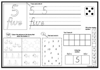 Introducing Numbers 0 - 10 Worksheets ~ Miss Mac Attack ~