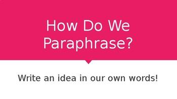 Introducing Paraphrasing